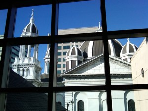 Cathedral View from Museum of Modern Art in downtown San Jose