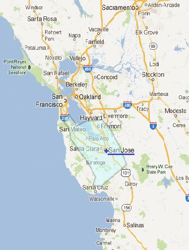 Silicon Valley areas in northern California