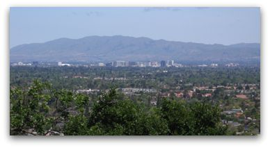 Silicon Valley and downtown San Jose as seen from the top of Harwood Road in Los Gatos