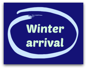 "Winter Arrival Graphic - says ""Winter Arrival"""