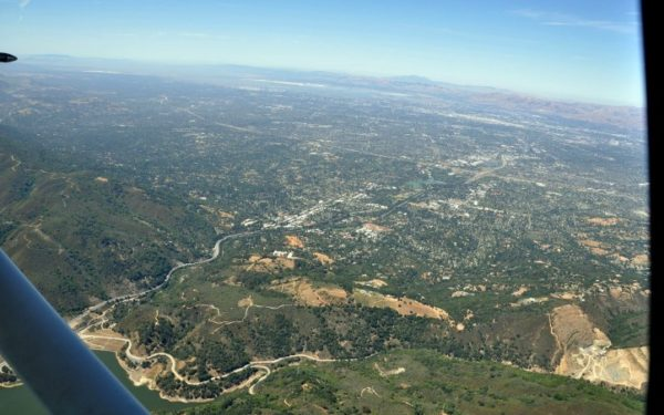View of Los Gatos - aerial view from over Lexington Reservoir